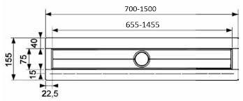 Canal de dus TECE drainline drept, cu flansa si banda de etansare Seal System L=1500mm 4